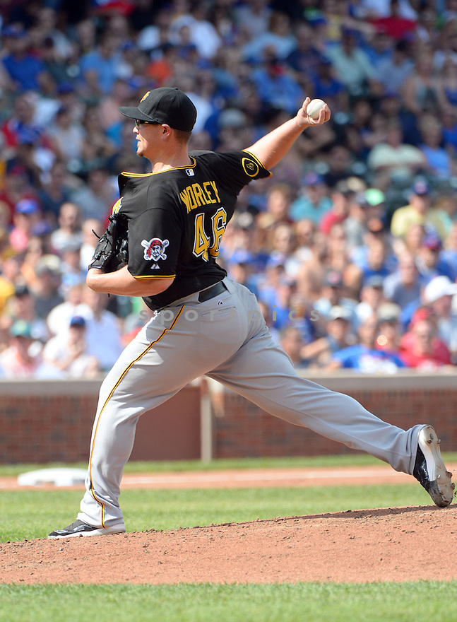 Pittsburgh Pirates Vance Worley (46) during a game against the Chicago Cubs on September 5, 2014, at Wrigley Field in Chicago, IL. The Pirates beat the Cubs 5-3.