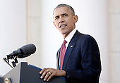 United States President Barack Obama makes remarks at Arlington National Cemetery, November 11, 2015 in Arlington, Virginia. The President is visiting Arlington National Cemetery for a Veteran's Day Observance.<br /> Credit: Olivier Douliery / Pool via CNP