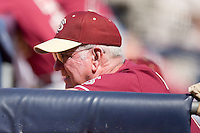 Florida State Seminoles head coach Mike Martin #11 watches the action from the dugout at Durham Bulls Athletic Park May 21, 2009 in Durham, North Carolina.  (Photo by Brian Westerholt / Four Seam Images)