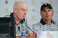 Jim Furyk (USA) speaks during round 1 player selection for the 2017 President's Cup, Liberty National Golf Club, Jersey City, New Jersey, USA. 9/27/2017.<br /> Picture: Golffile | Ken Murray<br /> <br /> <br /> All photo usage must carry mandatory copyright credit (© Golffile | Ken Murray)