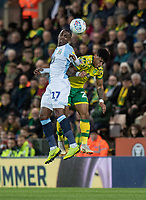 Blackburn Rovers' Amari'i Bell (left) battles with Norwich City's Onel Hernandez (right) <br /> <br /> Photographer David Horton/CameraSport<br /> <br /> The EFL Sky Bet Championship - Norwich City v Blackburn Rovers - Saturday 27th April 2019 - Carrow Road - Norwich<br /> <br /> World Copyright © 2019 CameraSport. All rights reserved. 43 Linden Ave. Countesthorpe. Leicester. England. LE8 5PG - Tel: +44 (0) 116 277 4147 - admin@camerasport.com - www.camerasport.com