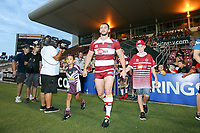 Picture by David Neilson/SWpix.com/PhotosportNZ - 10/02/2018 - Rugby League - Betfred Super League - Wigan Warriors v Hull FC  - WIN Stadium, Wollongong, Australia - Wigan captain Sean O'Loughlin leads his team out against Hull FC at the WIN stadium in Wollongong.