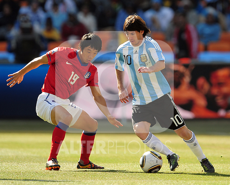 Messi during the 2010 World Cup Soccer match between Argentina vs Korea Republic played at Soccer City in Johannesburg, South Africa on 17 June 2010.