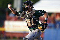 Jamestown Jammers catcher Taylor Gushue (13) in a rundown during a game against the Batavia Muckdogs on July 25, 2014 at Dwyer Stadium in Batavia, New York.  Batavia defeated Jamestown 7-2.  (Mike Janes/Four Seam Images)