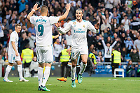 Real Madrid Gareth Bale and Karim Benzema celebrating a goal during La Liga match between Real Madrid and Celta de Vigo at Santiago Bernabeu Stadium in Madrid, Spain. May 12, 2018. (ALTERPHOTOS/Borja B.Hojas) /NORTEPHOTOMEXICO