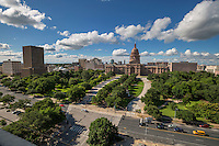 The Texas Capitol is surrounded by approximately 22 acres. In 1993, the completion of the Capitol Extension created an entirely new setting for the north side of the Capitol. The 1995-96 restoration of the historic South Grounds returned the park-like setting to its 1888-1915 appearance and updated vital systems such as fire protection, water-conserving irrigation, lighting and accessible walkways. The Westgate Tower opened its doors in 1966 and was named for its location just West of the State Capitol grounds. It is home to many Texas legislators and lobbyist - Stock image