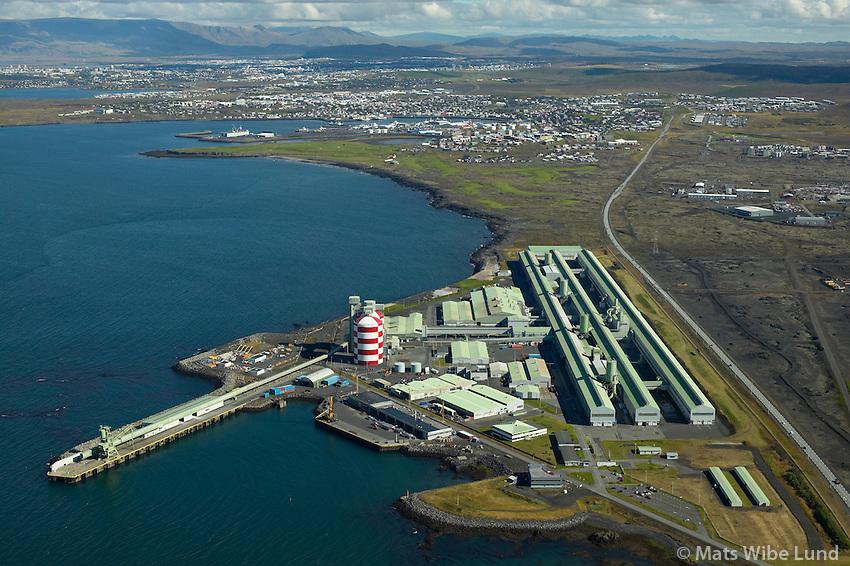 ISAL Straumsvík, Hafnarfjörður.ISAL aluminium melting plant and Straumsvik harbour, Hafnarfjordur