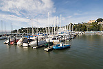 Sailboats and water, City of Tiburon on San Francisco Bay, CA, California.  Appealing community on Marin side with breakfast places, sailboats, outdoor dining, houses with scenic views, views of the Golden Gate, cormorant birdlife, public sculptures, a railroad museum, boutique art shops, and an historic China Cabin building from an ex-ship..Photo camari262-70479..Photo copyright Lee Foster, www.fostertravel.com, 510-549-2202, lee@fostertravel.com.