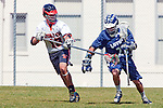Beverly Hills, CA 04/12/10 - Matt Rennie (Beverly Hills # 18) and Joshua Belmont (Loyola # 22) in action during the Loyola-Beverly Hills Boys Varsity Lacrosse game at Beverly Hills High School, Loyola defeated Beverly Hills 16-0.