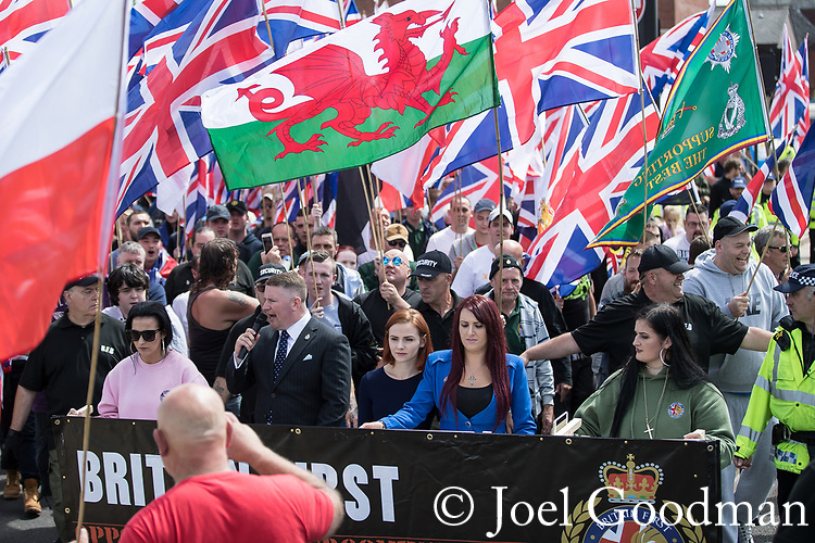© Joel Goodman - 07973 332324 . 22/07/2017 . Rochdale , UK . Britain First hold a demonstration in Rochdale , opposed by anti-fascist groups . Britain First say they are highlighting concerns about child sexual exploitation in the town . Photo credit : Joel Goodman