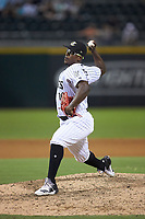 Charlotte Knights relief pitcher Thyago Vieira (10) in action against the Buffalo Bisons at BB&T BallPark on July 24, 2019 in Charlotte, North Carolina. The Bisons defeated the Knights 8-4. (Brian Westerholt/Four Seam Images)