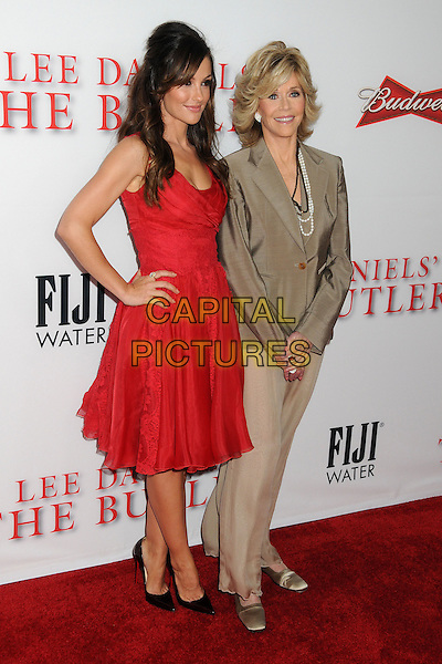Minka Kelly, Jane Fonda<br /> &quot;Lee Daniels' The Butler&quot; Los Angeles Premiere held at Regal Cinemas L.A. Live, Los Angeles, California, USA.<br /> August 12th, 2013<br /> full length dress red beige blazer trousers wide leg flared hand on hip<br /> CAP/ADM/BP<br /> &copy;Byron Purvis/AdMedia/Capital Pictures