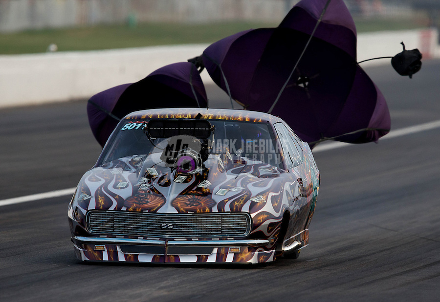 Sept. 1, 2013; Clermont, IN, USA: NHRA pro mod driver Mike Knowles during qualifying for the US Nationals at Lucas Oil Raceway. Mandatory Credit: Mark J. Rebilas-