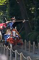 Sept 19, 2010- Miyayama, Kanagawa, Japan- A Yabusame horse back archer aims at his target during a Yabusame Horse-back archery ritual at Samukawa Jinja Shrine.