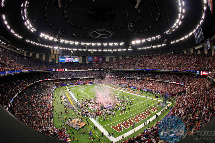 09 JAN 2012:  Louisiana State University takes on the University of Alabama during the 2012 Allstate BCS Championship held at the Mercedes-Benz Superdome in New Orleans, Louisiana.  Alabama defeated LSU 21-0 to win the national championship game.  Jamie Schwaberow/NCAA Photos