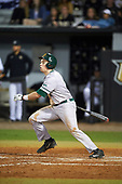 Siena Saints second baseman Jordan Bishop (4) at bat during a game against the UCF Knights on February 17, 2017 at UCF Baseball Complex in Orlando, Florida.  UCF defeated Siena 17-6.  (Mike Janes/Four Seam Images)