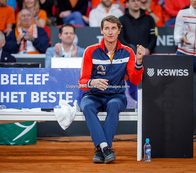 The Hague, The Netherlands, Februari 7, 2020,    Sportcampus, FedCup  Netherlands -  Balarus, Dutch captain Paul Haarhuis<br /> Photo: Tennisimages/Henk Koster