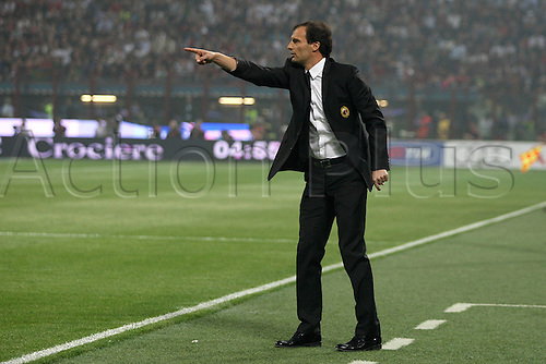 02 04 2011 AC Milan versus Inter Milan.   .  Manager Massimiliano Allegri sends in signals to his team from the sideline