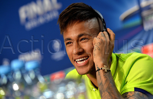 05.06.2015. Berlin, Germany. , Neymar of FC Barcelona attends a FC Barcelona press conference on June 5, 2015 in Berlin, Germany. Juventus FC will face FC Barcelona in the 2015 UEFA Champions League final soccer match at the Olympic Stadium in Berlin, Germany on 6th June 2015.