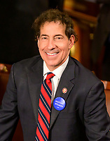 """United States Representative Jamie Raskin (Democrat of Maryland) wears a """"Madame Speaker"""" button as the 116th Congress convenes for its opening session in the US House Chamber of the US Capitol in Washington, DC on Thursday, January 3, 2019. Photo Credit: Ron Sachs/CNP/AdMedia"""