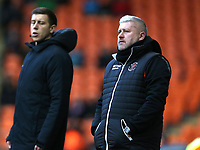 Blackpool manager Terry McPhillips shouts instructions to his team from the dug-out <br /> <br /> Photographer Stephen White/CameraSport<br /> <br /> The EFL Sky Bet League One - Blackpool v Charlton Athletic - Saturday 8th December 2018 - Bloomfield Road - Blackpool<br /> <br /> World Copyright &copy; 2018 CameraSport. All rights reserved. 43 Linden Ave. Countesthorpe. Leicester. England. LE8 5PG - Tel: +44 (0) 116 277 4147 - admin@camerasport.com - www.camerasport.com