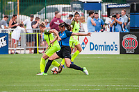 Kansas City, MO - Saturday June 17, 2017: Merritt Mathias, Brittany Taylor during a regular season National Women's Soccer League (NWSL) match between FC Kansas City and the Seattle Reign FC at Children's Mercy Victory Field.
