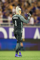 Orlando, Florida - Sunday, May 14, 2016: Orlando Pride goalkeeper Ashlyn Harris (1) celebrates the 1-0 victory during a National Women's Soccer League match between Orlando Pride and New York Flash at Camping World Stadium.