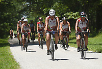 NWA Democrat-Gazette/FLIP PUTTHOFF <br /> Riders on the Trail of Tears bike ride pedal Tuesday June 20 2017 through Pea Ridge National Military Park during their stop at the Civil War battlefield. &quot;Remember the Removal&quot; riders learned the Trail of Tears route through the park and history of the Battle of Pea Ridge fought in March 1862.