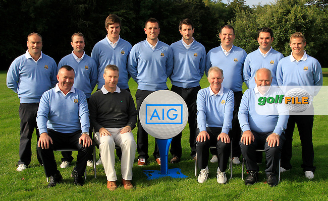 Aidan Connaughton (Consumer Lines Director AIG) with the Cork team for the Senior Cup during for the AIG Cups &amp; Shields Finals in Royal Tara Golf Club on Friday 20th September 2013.<br /> Picture:  Thos Caffrey / www.golffile.ie