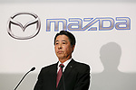 Mazda Motor Corporation President and CEO Masamichi Kogai speaks during a news conference at the Royal Park Hotel Tokyo on August 4, 2017, Tokyo, Japan. Kogai and Toyota Motor Corporation President Akio Toyoda announced an alliance between the car makers; whereby they will invest in each other and plan to build a joint auto factory in the U.S. and cooperate in new technologies for electric vehicles.(Photo by Rodrigo Reyes Marin/AFLO)
