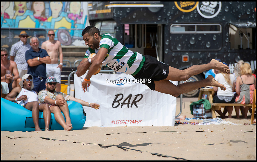 BNPS.co.uk (01202 558833)<br /> Pic: PhilYeomans/BNPS<br /> <br /> The British beach rugby championship is on Bournemouth beach this weekend.