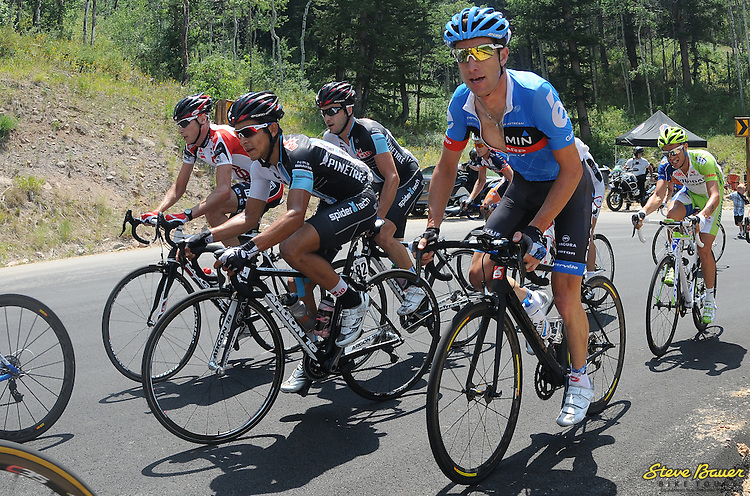 Flavio De Luna and Lucas Euser climb during Stage 6 of the Larry H Miller Tour of Utah. Aug. 12, 2012. Photo by Brian Hodes/VeloImages