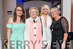 Michaela O'Brien Esther Brosnan, Cliona O'Brien and June McCauley, pictured at the Kerins Park 50th anniversary social held at The Rose Hotel, Tralee, on Saturday night last.