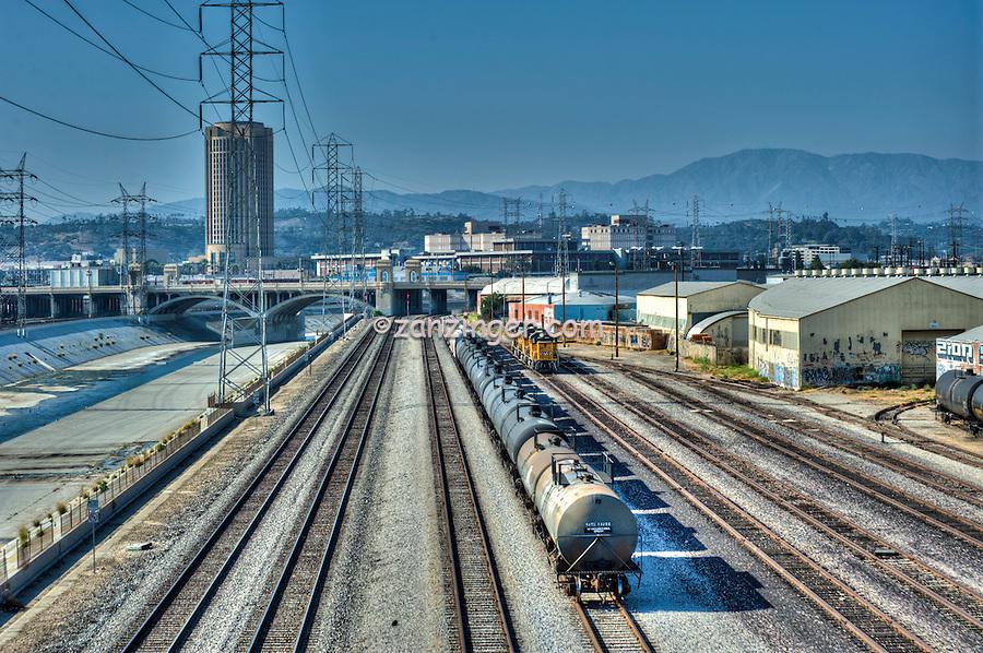 1st Street Bridge, LA River, MTA Building, East LA, Trains, Tracks, Los Angeles, CA
