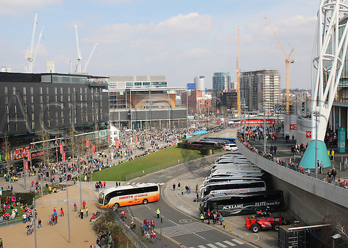 03.04.2016. Wembley Stadium,  London, England. Johnstones Paint Trophy Football Final Barnsley versus  Oxford Utd. Buses of fans arriving at Wembley