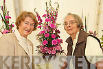 FLORAL: Michelle and.Helen McElligott from.Clash West, Tralee, with.a flower arrangement at.Feile na mBlath in Tralee.Town Park on Friday.
