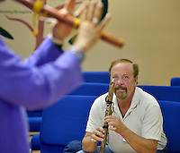 NWA Democrat-Gazette/BEN GOFF &bull; @NWABENGOFF<br /> Ken Dickerson learns to play the Native American flute on Sunday July 12, 2015 as classical crossover duo Armand and Angelina, from Orlando, Fla., lead a native american flute 'play shop' at Unity Church of the Ozarks in Bentonville.