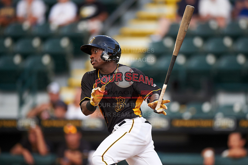 Bradenton Marauders center fielder Tito Polo (5) at bat during a game against the Fort Myers Miracle on August 3, 2016 at McKechnie Field in Bradenton, Florida.  Bradenton defeated Fort Myers 9-5.  (Mike Janes/Four Seam Images)