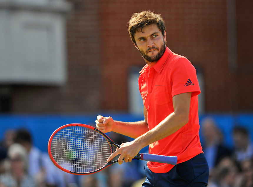 Gilles Simon (FRA) celebrates his victory over Milos Raonic (CAN) in their Men&rsquo;s Singles Quarter Final match - Gilles Simon def Milos Raonic 4-6, 6-3, 7-5<br /> <br /> Photographer Ashley Western/CameraSport<br /> <br /> Tennis - ATP 500 World Tour - AEGON Championships- Day 5 - Friday 19th June 2015 - Queen's Club - London <br /> <br /> &copy; CameraSport - 43 Linden Ave. Countesthorpe. Leicester. England. LE8 5PG - Tel: +44 (0) 116 277 4147 - admin@camerasport.com - www.camerasport.com