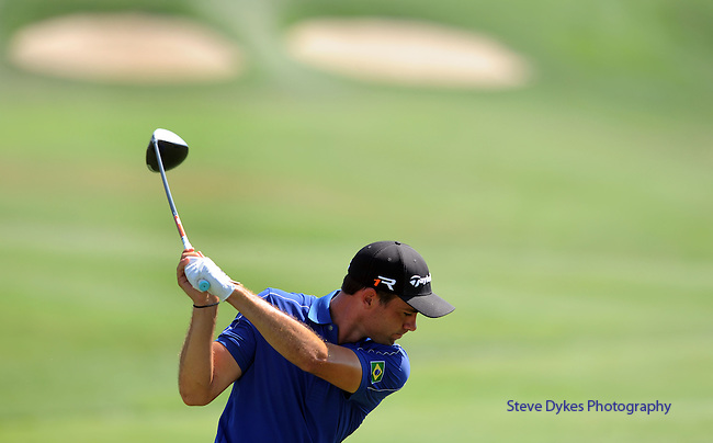 OMAHA, NE - AUGUST 25: Alexandre Rocha of Brazil hits his drive on the 9th hole during the final round of the Cox Classic Presented by Lexus of Omaha at Champions Run on August 25, 2013 in Omaha, Nebraska. (Photo by Steve Dykes/Getty Images) *** Local Caption *** Alexandre Rocha