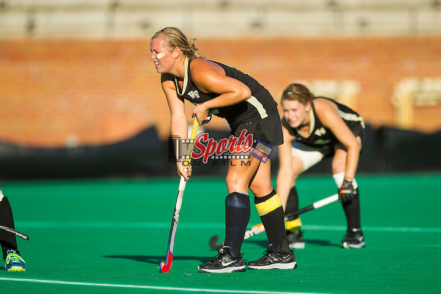 Taylor Rhea (2) of the Wake Forest Demon Deacons is in position for a penalty corner late in the second half of play against the Liberty Flames at Kentner Stadium on September 13, 2013 in Winston-Salem, North Carolina.  The Demon Deacons defeated the Flames 3-2.  (Brian Westerholt/Sports On Film)