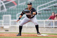 First baseman Anthony Martinez (35) of the Delmarva Shorebirds waits for the throw versus the Kannapolis Intimidators at Fieldcrest Cannon Stadium in Kannapolis, NC, Wednesday, May 14, 2008.
