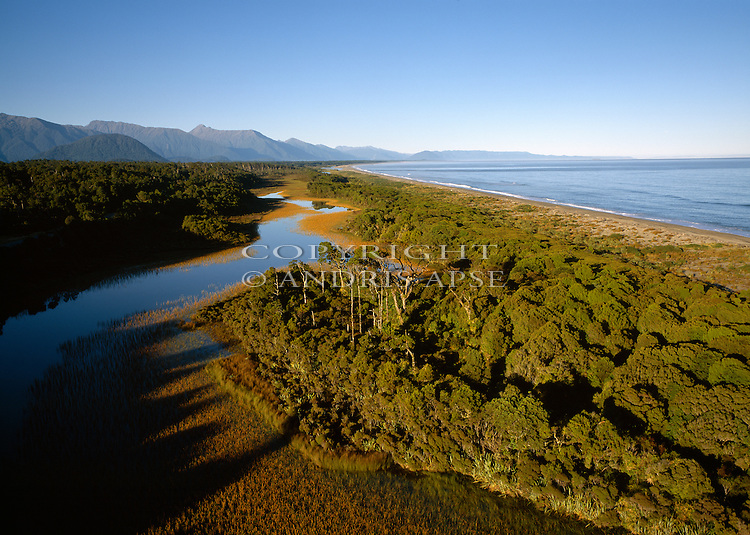 Aerial view of native forest and coastline near Haast. South Westland Region.  New Zealand.