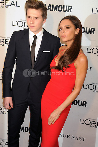 Brooklyn Beckham and  Victoria Beckham attends Glamour's 25th Anniversary Women Of The Year Awards at Carnegie Hall   on November 9, 2015. Credit: Dennis Van Tine/MediaPunch