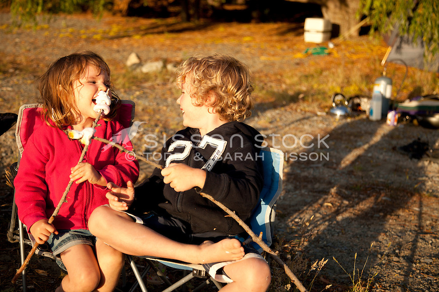 Two children toasting marshmellows and sitting in camping chairs in front of a campfire, New Zealand - stock photo, canvas, fine art print