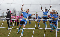 Lauryn Goodman celebrates scoring the penalty to gain her side 3rd place during the SOCCER SIX Celebrity Football Event at the Queen Elizabeth Olympic Park, London, England on 26 March 2016. Photo by Andy Rowland.