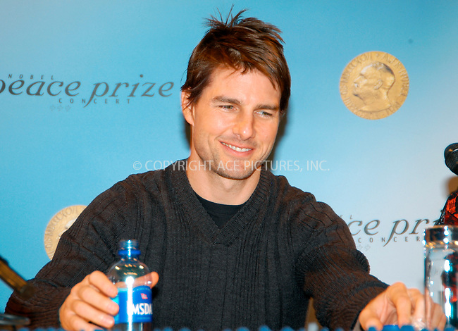 WWW.ACEPIXS.COM . . . . .  ... . . . . US SALES ONLY . . . . ...Oslo, Norway, December 11, 2004: Tom Cruise at a Nobel Peace Prize Concert press conference. Please byline: M. Delucci - FAMOUS - ACE PICTURES.... . . . .  ....Ace Pictures, Inc:  ..Alecsey Boldeskul (646) 267-6913 ..Philip Vaughan (646) 769-0430..e-mail: info@acepixs.com..web: http://www.acepixs.com