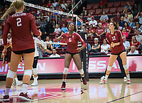 STANFORD, CA - September 9, 2018: Tami Alade, Audriana Fitzmorris, Kathryn Plummer at Maples Pavilion. The Stanford Cardinal defeated #1 ranked Minnesota 3-1 in the Big Ten / PAC-12 Challenge.