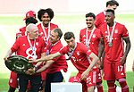 """Deutscher Meister 2020, FC Bayern Muenchen v.l. Co-Trainer Hermann Gerland, Joshua Zirkzee, Trainer Hans-Dieter """"Hansi"""" Flick mit Meisterschale, Thomas Mueller, Oliver Batista Meier, Jerome Boateng<br />Wolfsburg, 27.06.2020: nph00001: , Fussball Bundesliga, VfL Wolfsburg - FC Bayern Muenchen 0:4<br />Foto: Tim Groothuis/Witters/Pool//via nordphoto<br /> DFL REGULATIONS PROHIBIT ANY USE OF PHOTOGRAPHS AS IMAGE SEQUENCES AND OR QUASI VIDEO<br />EDITORIAL USE ONLY<br />NATIONAL AND INTERNATIONAL NEWS AGENCIES OUT"""
