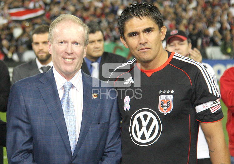 D.C. United CEO Kevin Payne with Jaime during festivities surrounding the final appearance of Jaime Moreno in a D.C. United uniform, at RFK Stadium, in Washington D.C. on October 23, 2010. Toronto won 3-2.